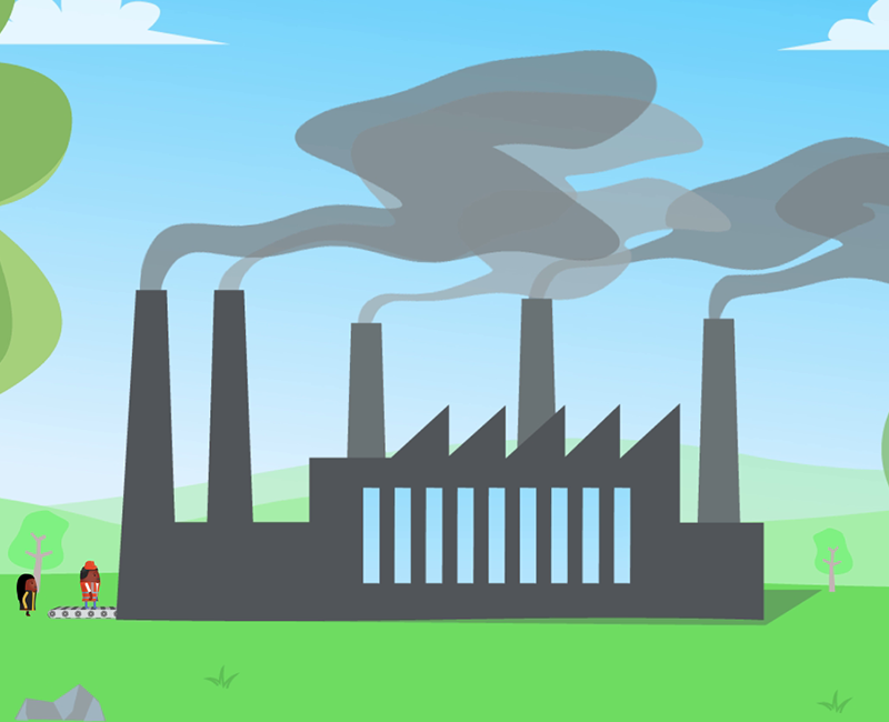 2D cartoon animation picture showing a polluting factory