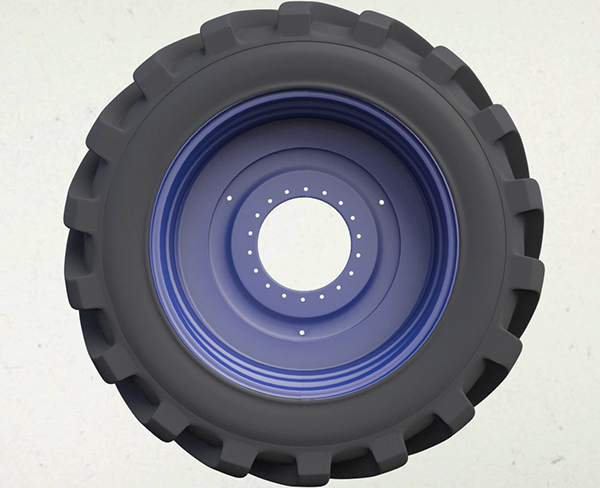 3D image of a tractor tyre and wheel by Distant Future Animation Studio Leeds